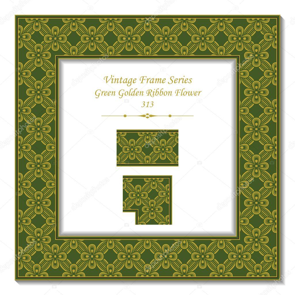 Vintage 3D frame 313 Green Golden Ribbon Flower — Stock Vector ...