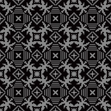 Elegant dark antique background image of mosaic square cross geometry pattern.