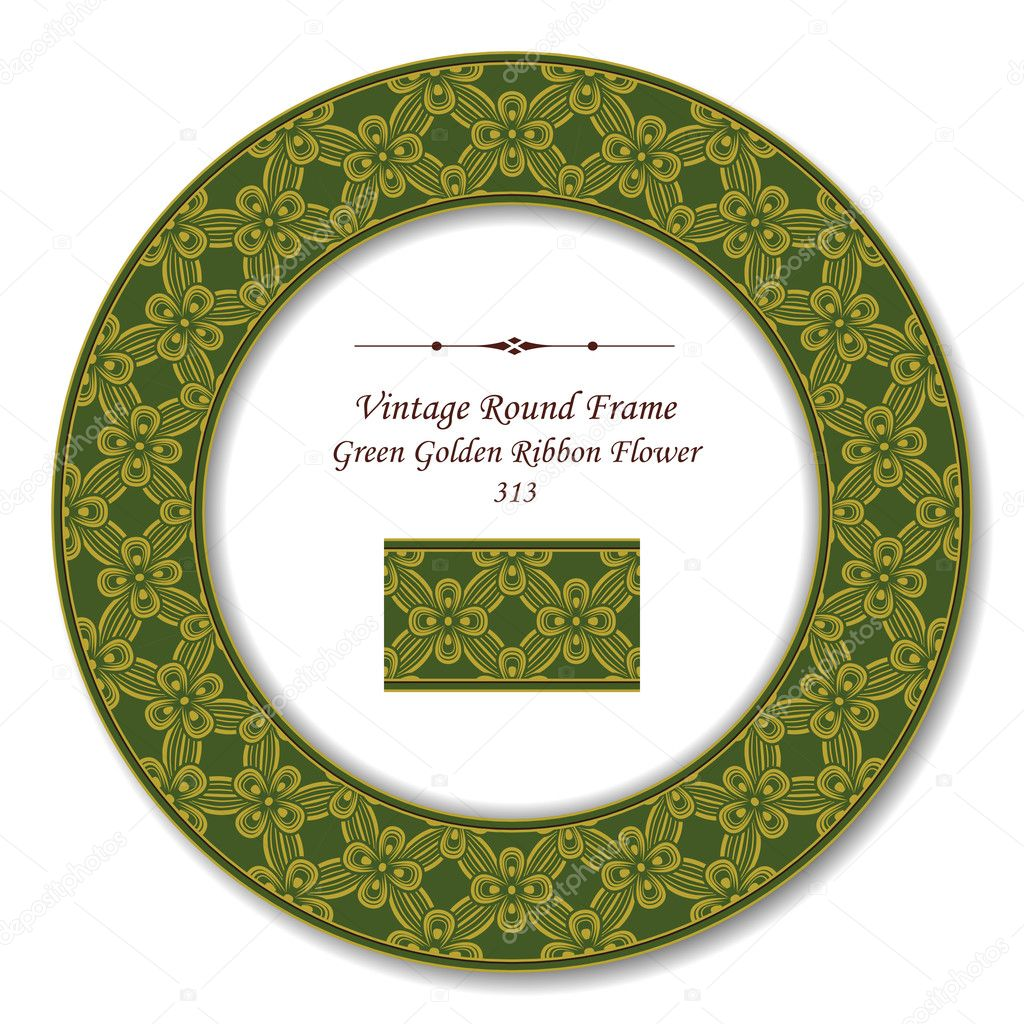 Vintage Round Retro Frame 313 Green Golden Ribbon Flower — Stock ...