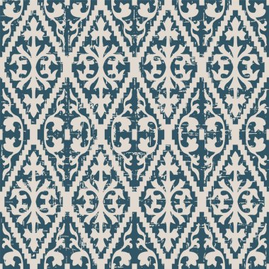 Seamless worn out antique background image of jagged check spiral pattern.