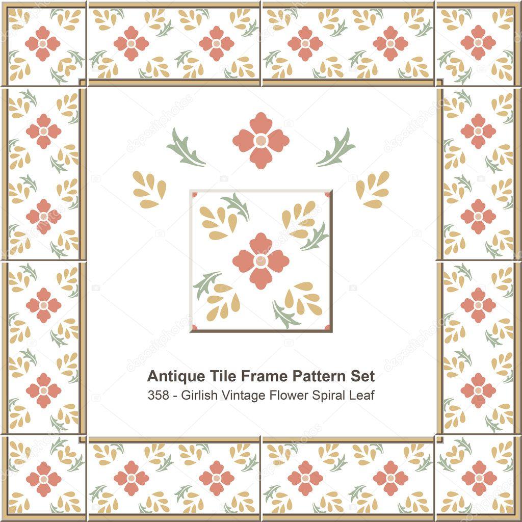 Azulejo antiguo marco set_358 niña Vintage flor espiral hoja del ...