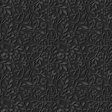 Seamless 3D dark paper cut art background 450 garden spiral curve vine flower leaf
