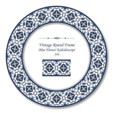 Vintage Round Retro Frame 344 Blue Flower Kaleidoscope