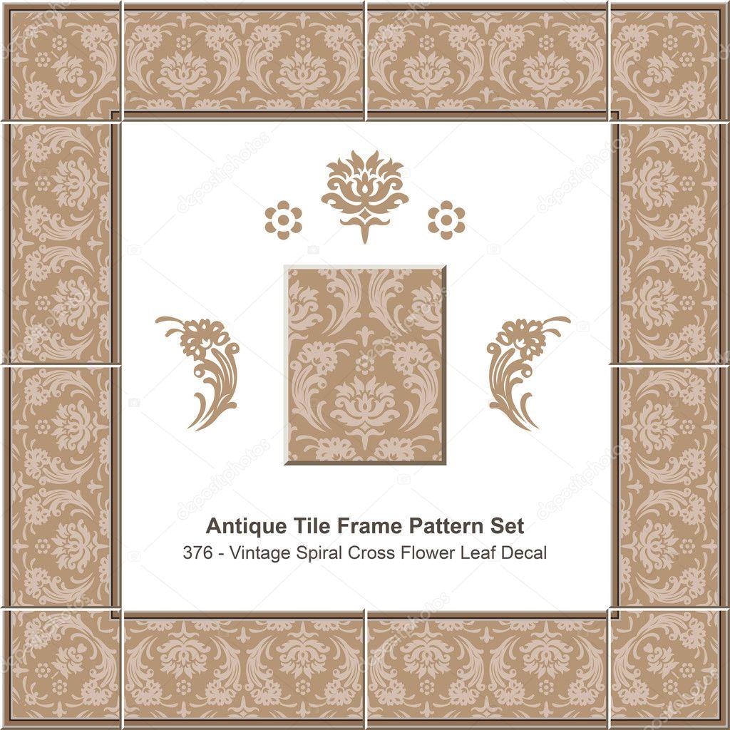 Azulejo antiguo marco set_376 Vintage espiral Cruz flor hoja de ...