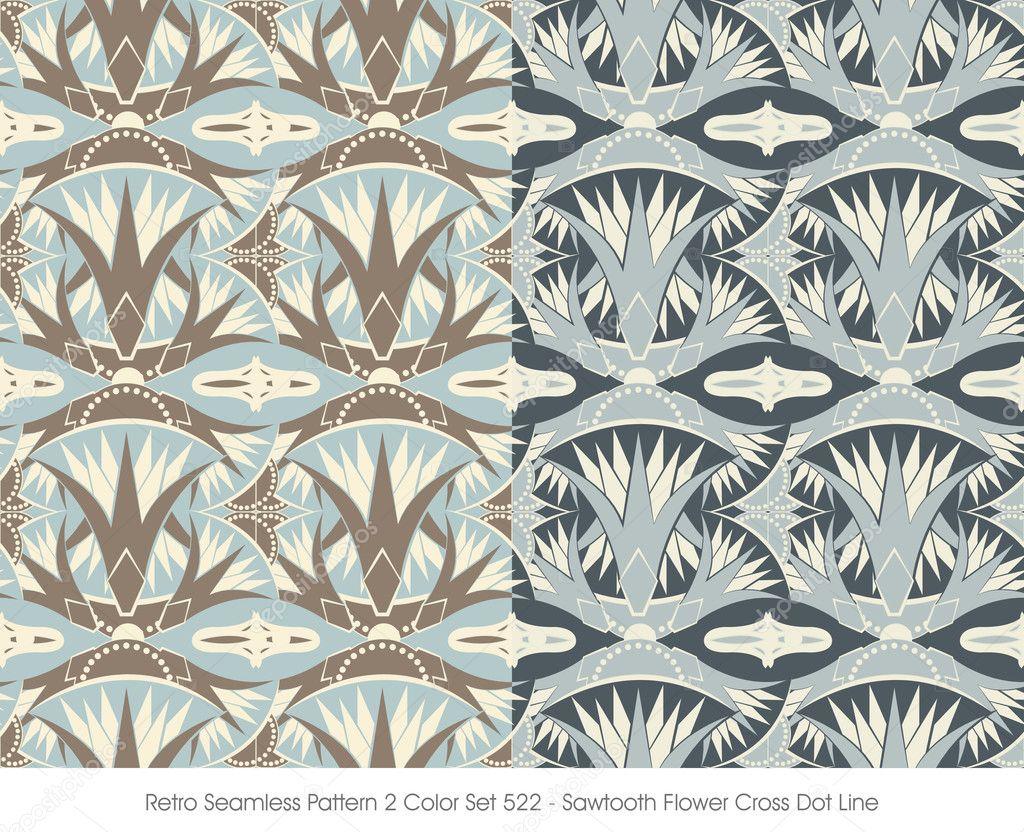 De patrones sin fisuras retro 2 Color Set_522 Sierra flores Cruz de ...
