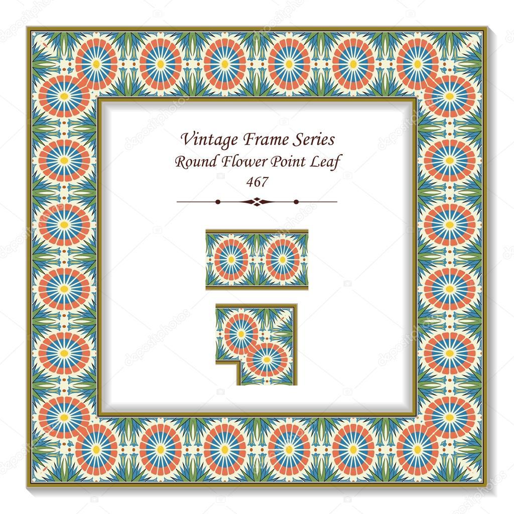 Vintage marco 3d 467 flores redondo punto de hoja — Vector de stock ...