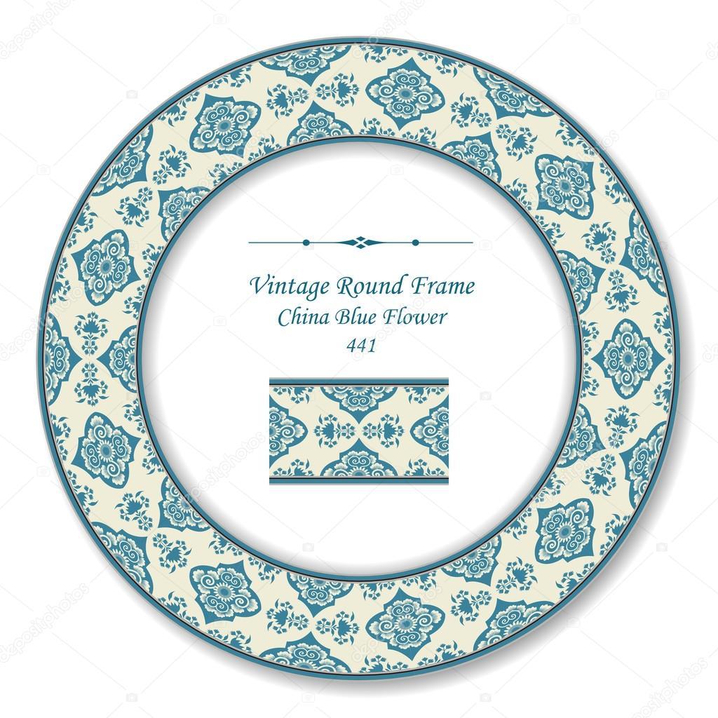 Retro kolo Retro rám 441 Čína modrý květ — Stock Vektor © kusabi ... 7c881b0869