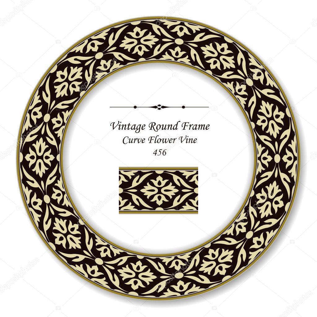 Vintage Runde Retro-Rahmen 456 Kurve Blume Ranke — Stockvektor ...