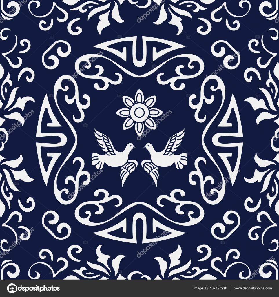 Nahtlose blau Japanisch Hintergrund Spirale Runde Rahmen Taube Flow ...