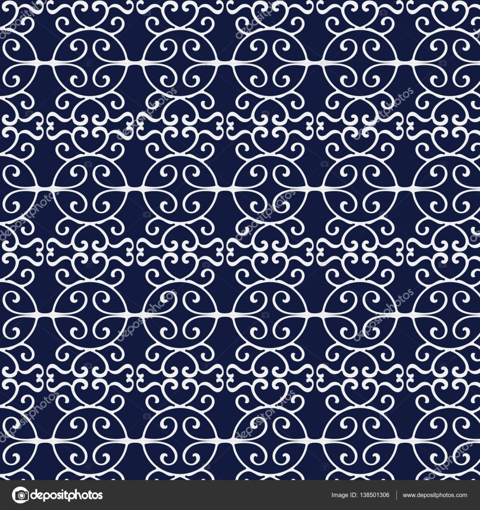 Nahtlose blau Japanisch Hintergrund Runde Spirale Cross Rahmen ...