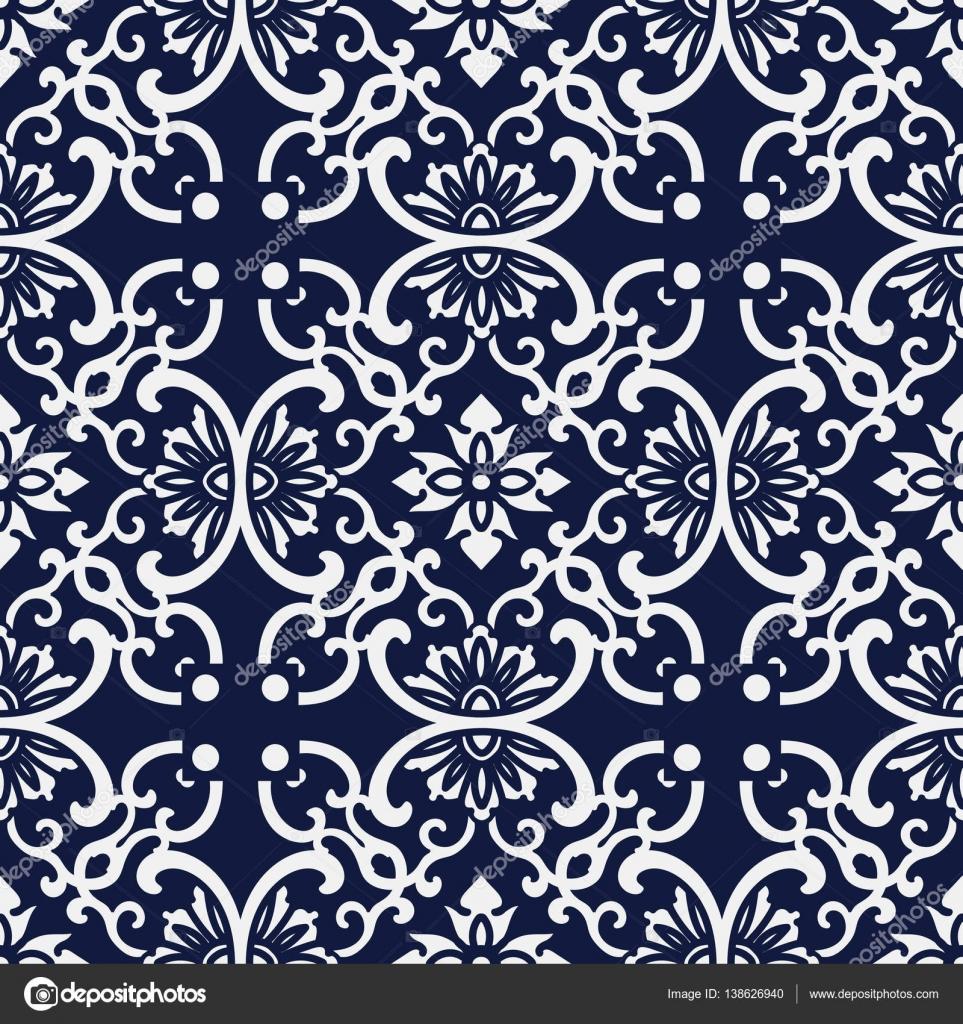 Nahtlose blau Japanisch Hintergrund Runde Kurve Cross Rahmen Blume ...