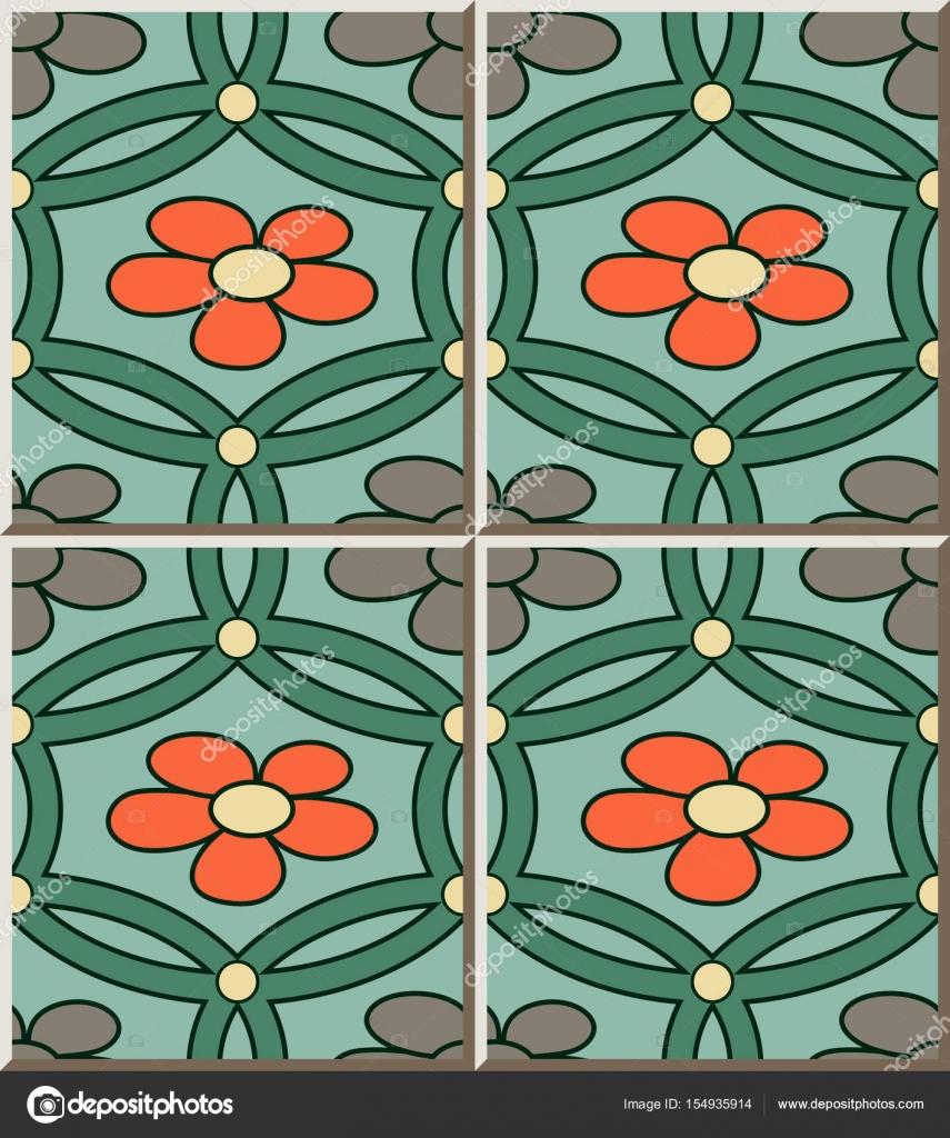 Rétro de modèle de carrelage en céramique vert rond fleur croisillon ...