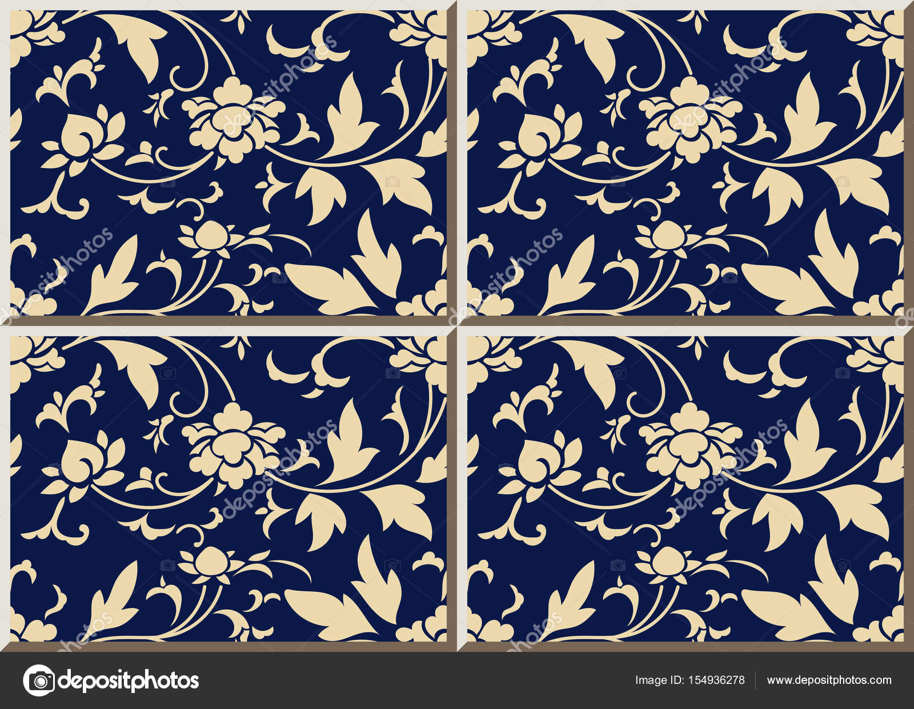 Chintz di piastrelle di ceramica modello blu navy botanic garden