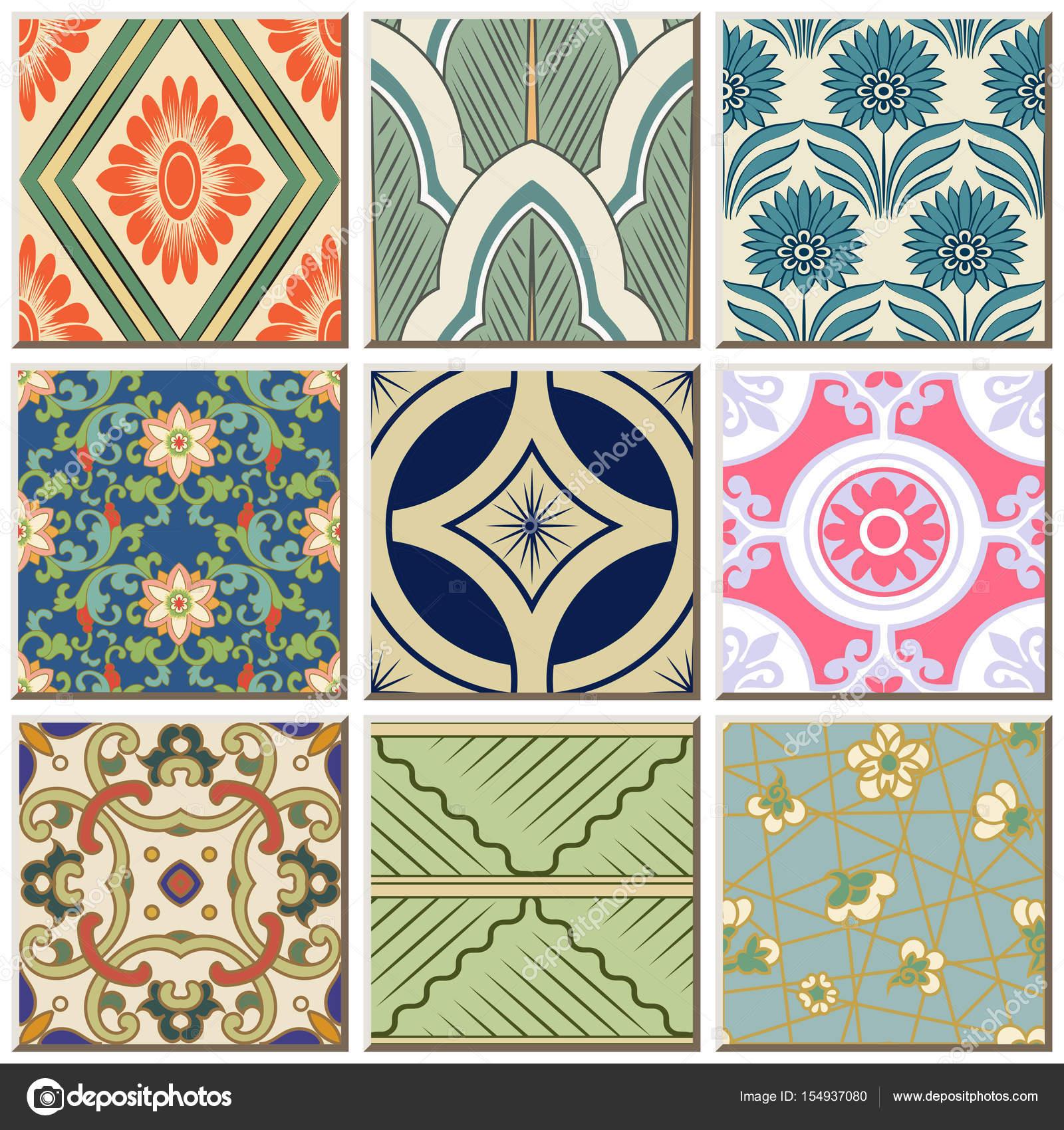 Orientalische Antike Retro Fliesen Muster Combo Sammlungssatz