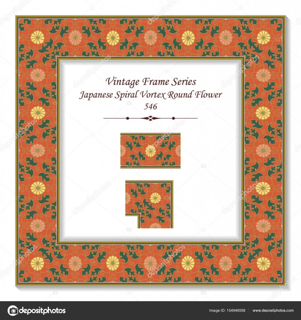 Vintage 3D frame Japanese Spiral Vortex Round Flower — Stock Vector ...