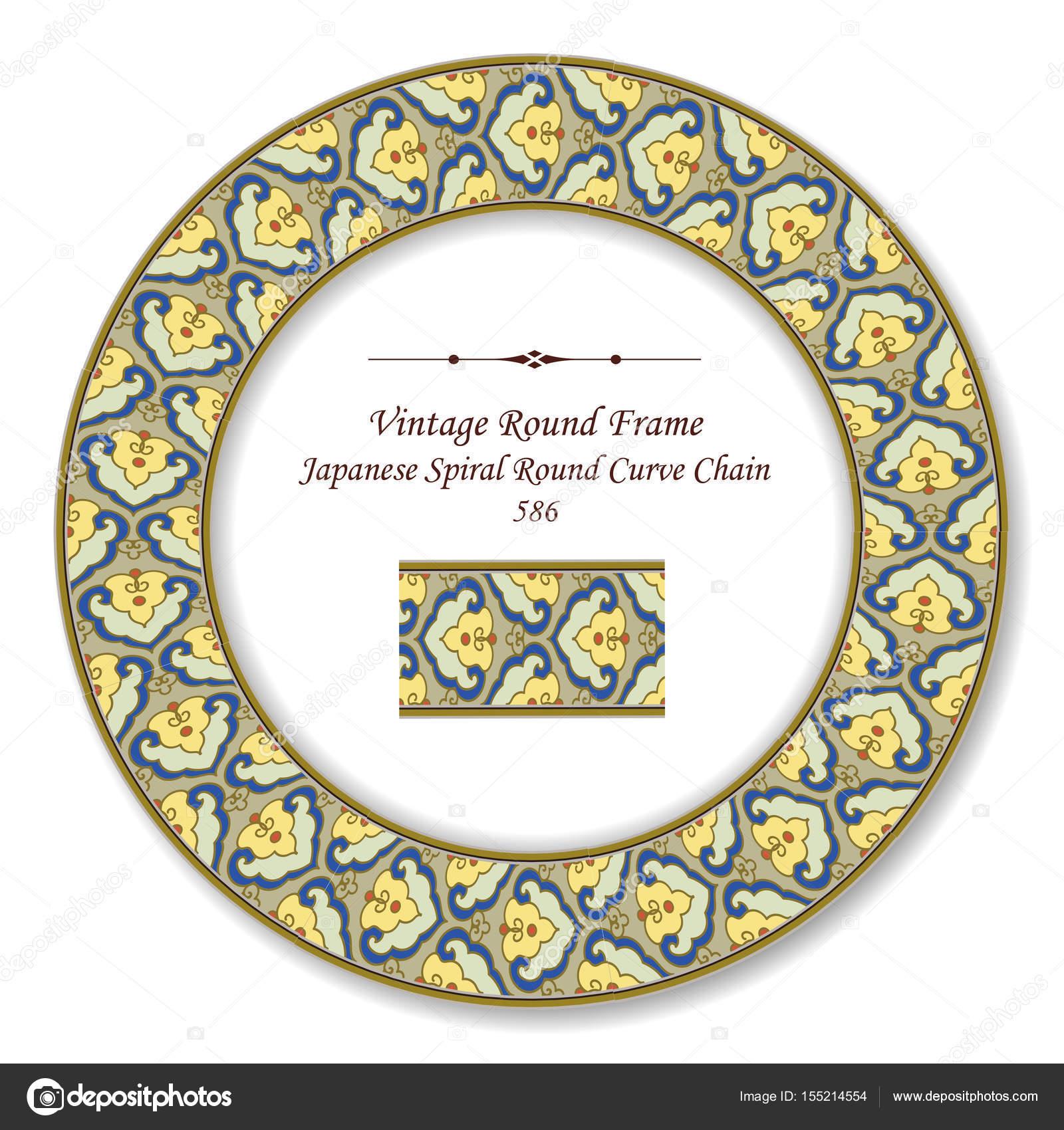 Vintage runden Retro-Rahmen Japanisch Spirale Runde Runde Kurve Chai ...