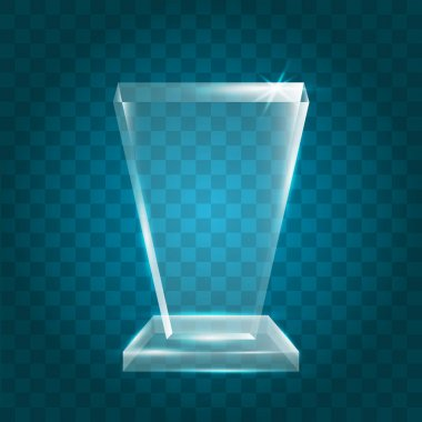 Blank Transparent Vector Acrylic Glass Trophy Award template_30