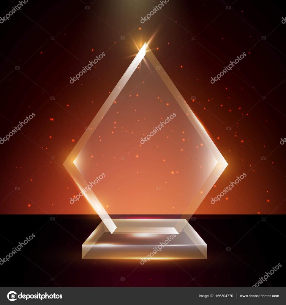 Leere Vorlage transparenten Vektor Acryl Glas Trophy Award ...