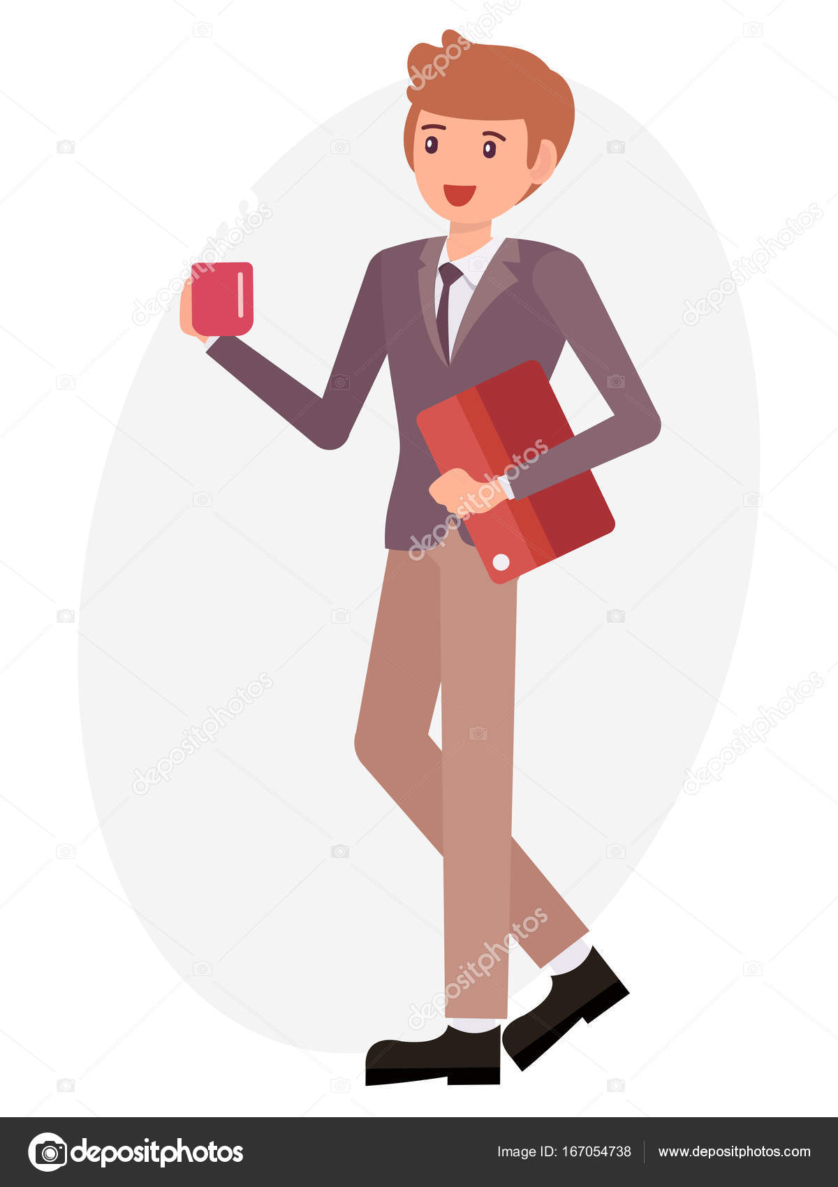 Cartoon Character Design Male Man Hold Coffee Cup Document File - Character design document