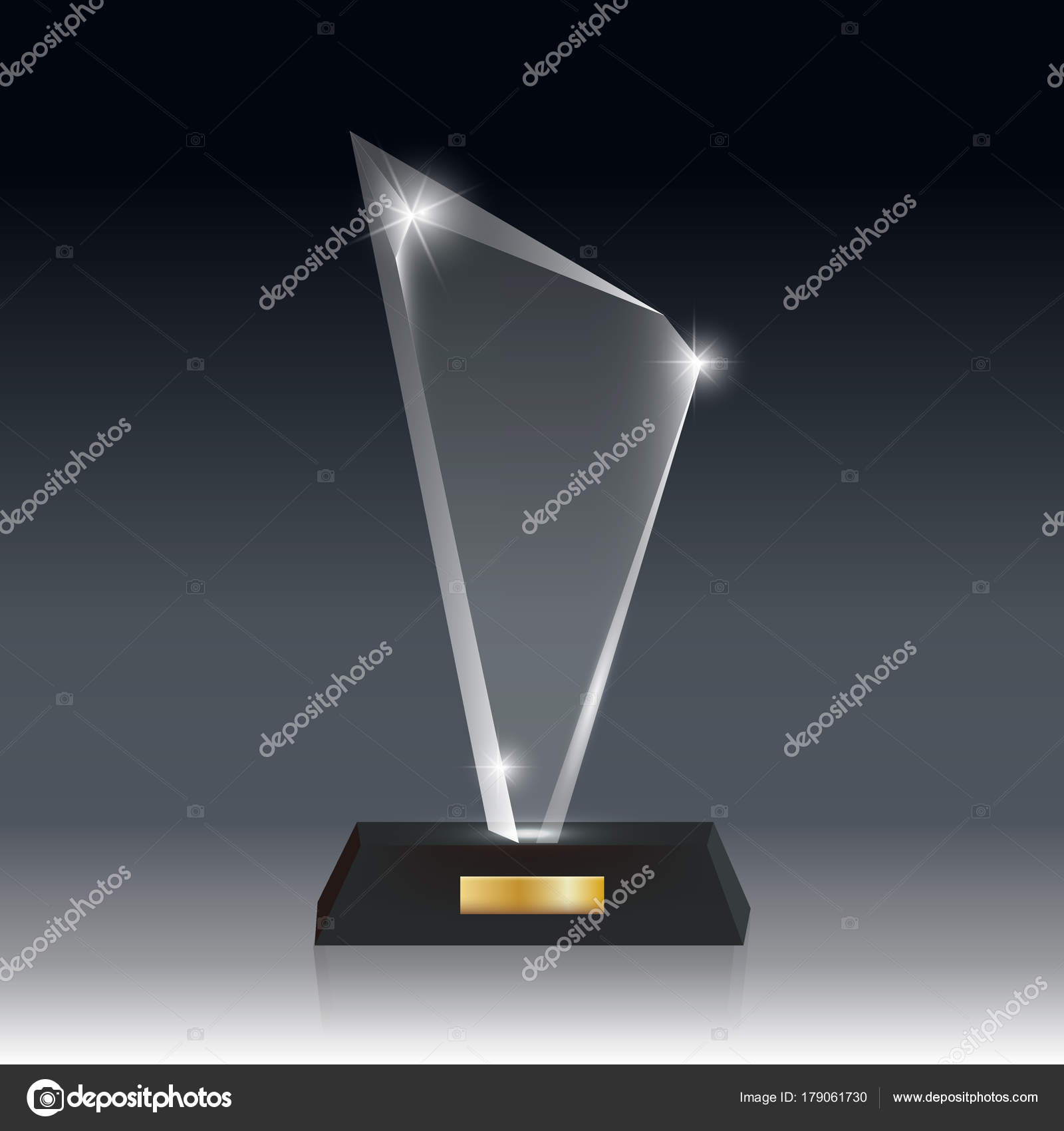 Realistic Blank Vector Acrylic Glass Trophy Award dark gray