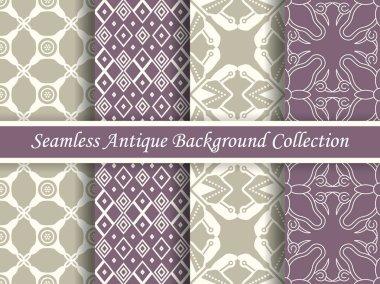 Antique seamless elegant purple tone background image collection