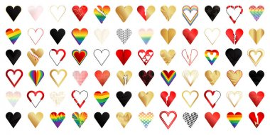 Heart set, broken and whole. Different gold, black, red and colored heart icons, vector illustration collection. icon