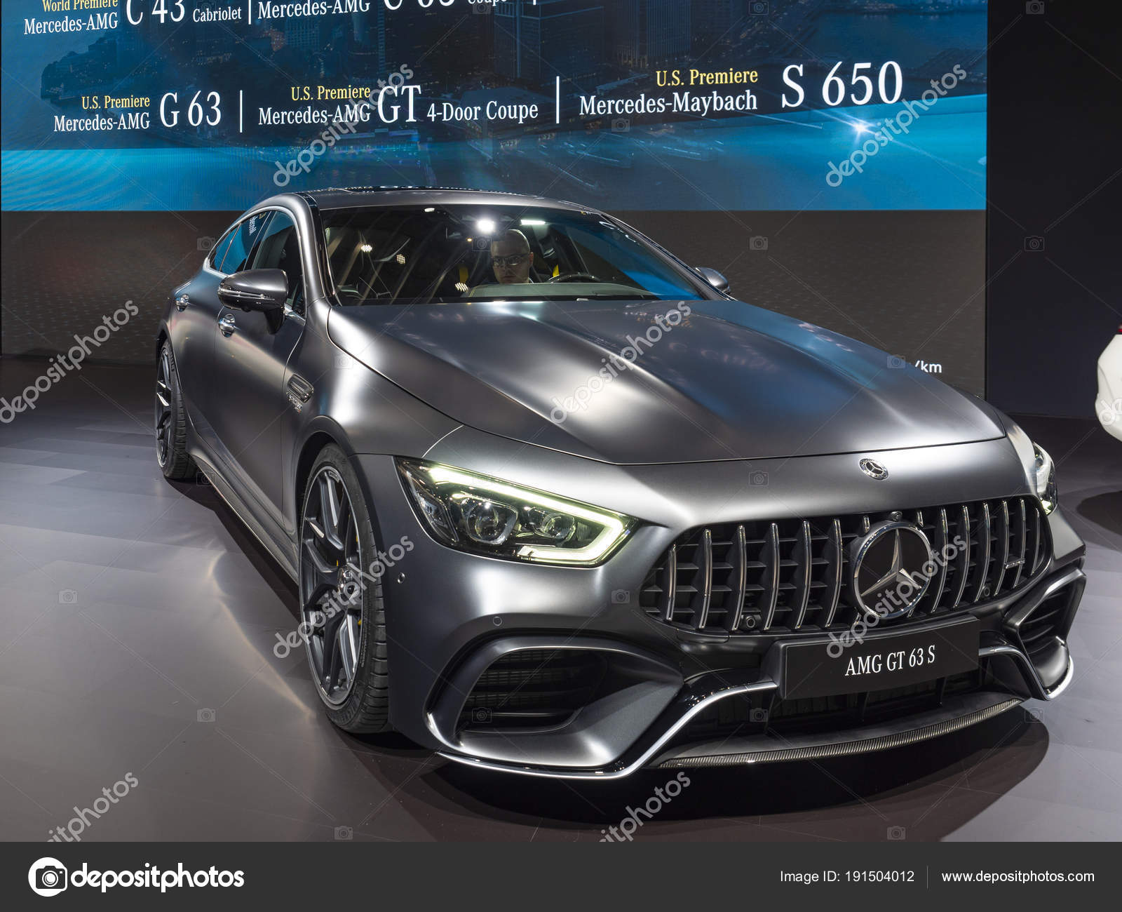 mercedes amg gt 63 s auf 2018 newyork international auto show redaktionelles stockfoto. Black Bedroom Furniture Sets. Home Design Ideas