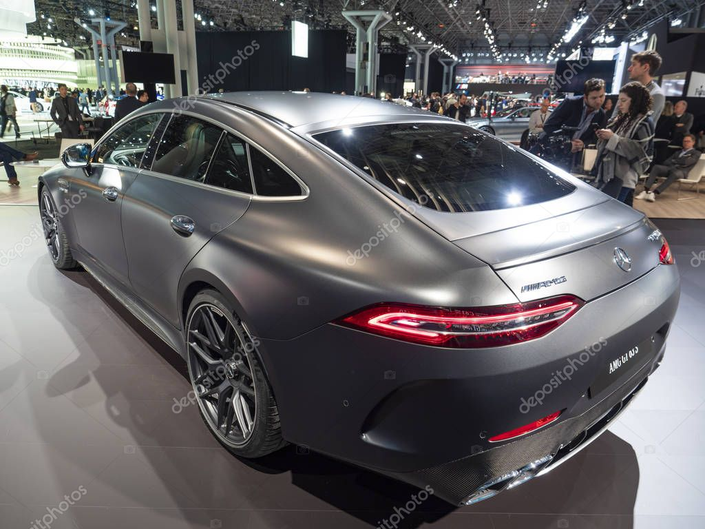 mercedes amg gt 63 s at the 2018 new york international auto show stock editorial photo. Black Bedroom Furniture Sets. Home Design Ideas