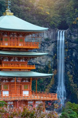 close up of wakayama shrine with waterfalls beside, the scenery view and popular famous place for tourist and traveller visit in Japan