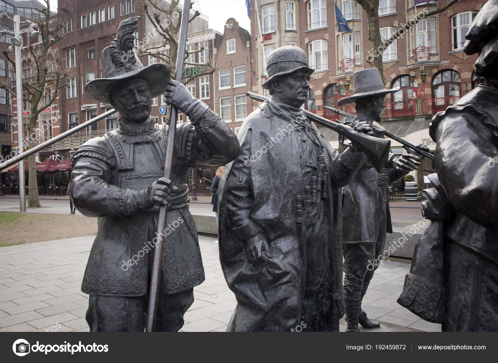Rembrandt statue on Rembrandtplein - Rembrandt Square both named