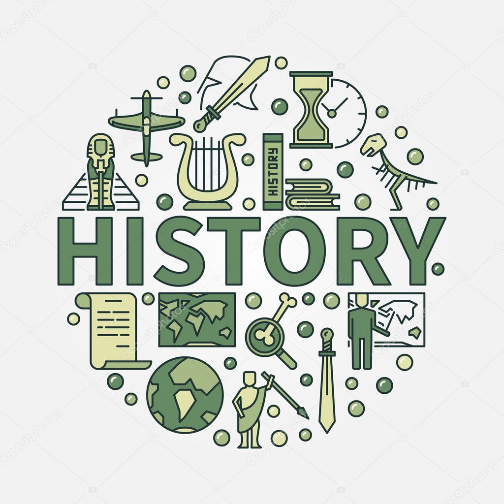 History green round symbol stock vector sn3g 127072252 history green round symbol vector colorful flat circular symbol of the study of past events with word history in center vector by sn3g buycottarizona