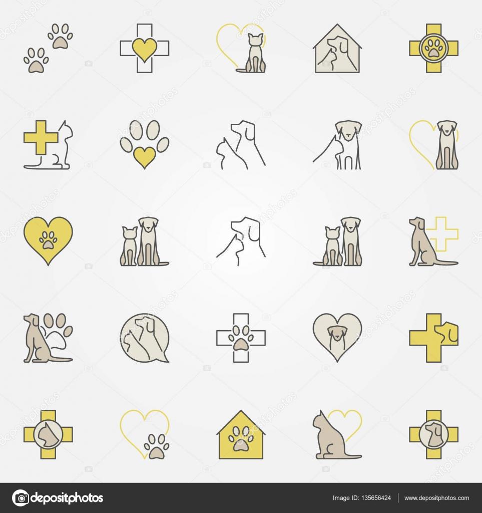 Amado Ícones de cor de medicina veterinária — Vetores de Stock © sn3g  KA11