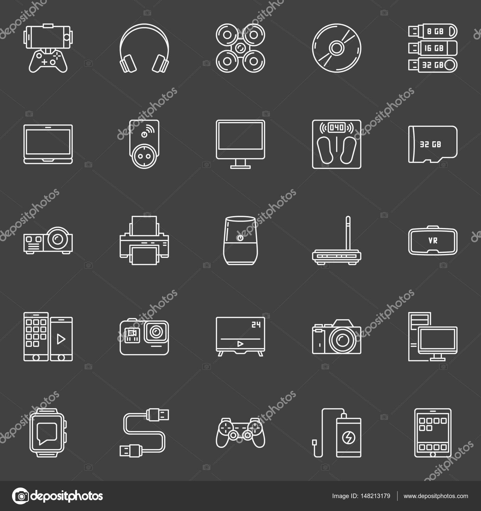 Elektronische Geräte umreißen Symbole — Stockvektor © sn3g #148213179