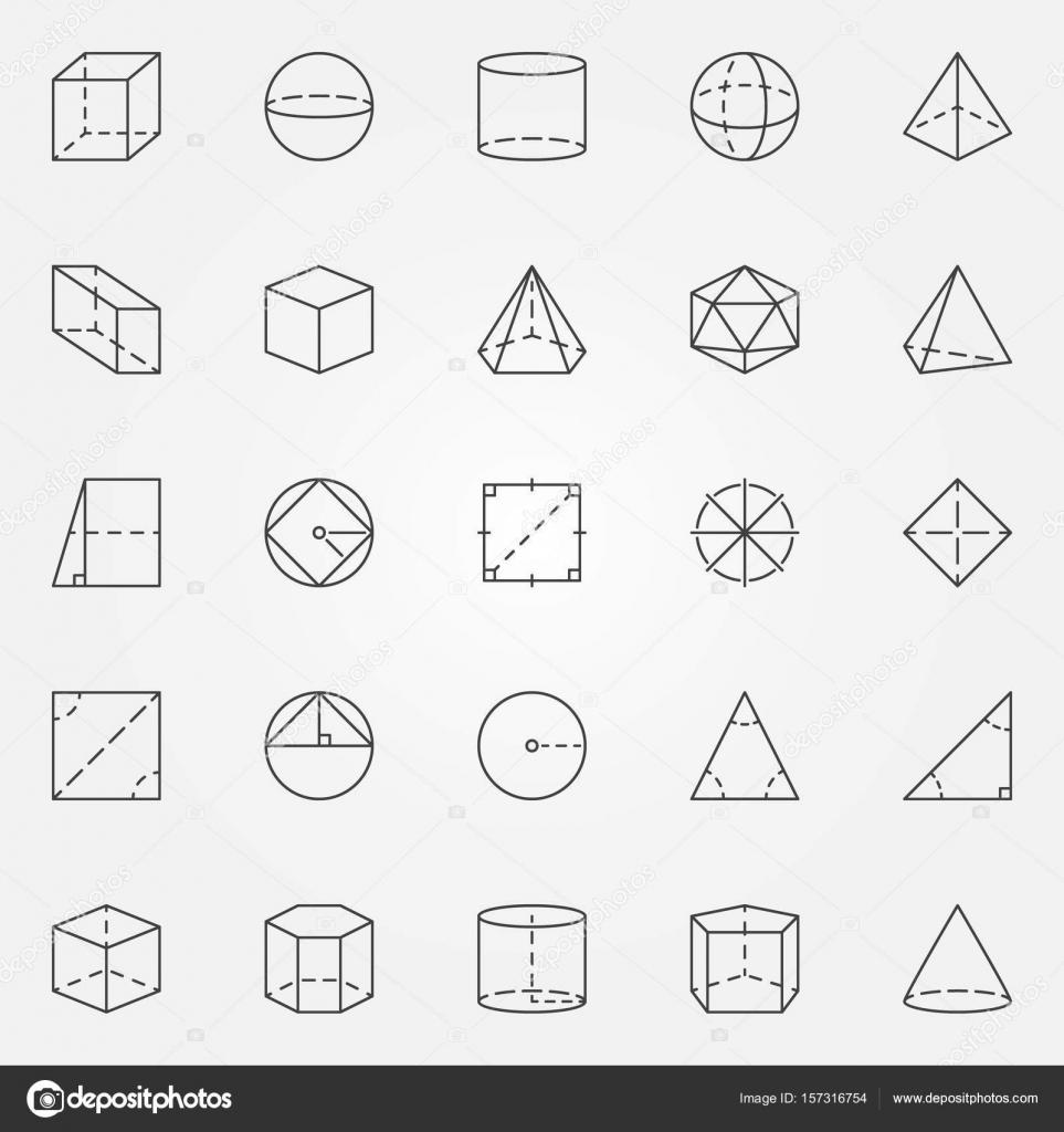 Geometrie und Trigonometrie Icons set — Stockvektor © sn3g #157316754