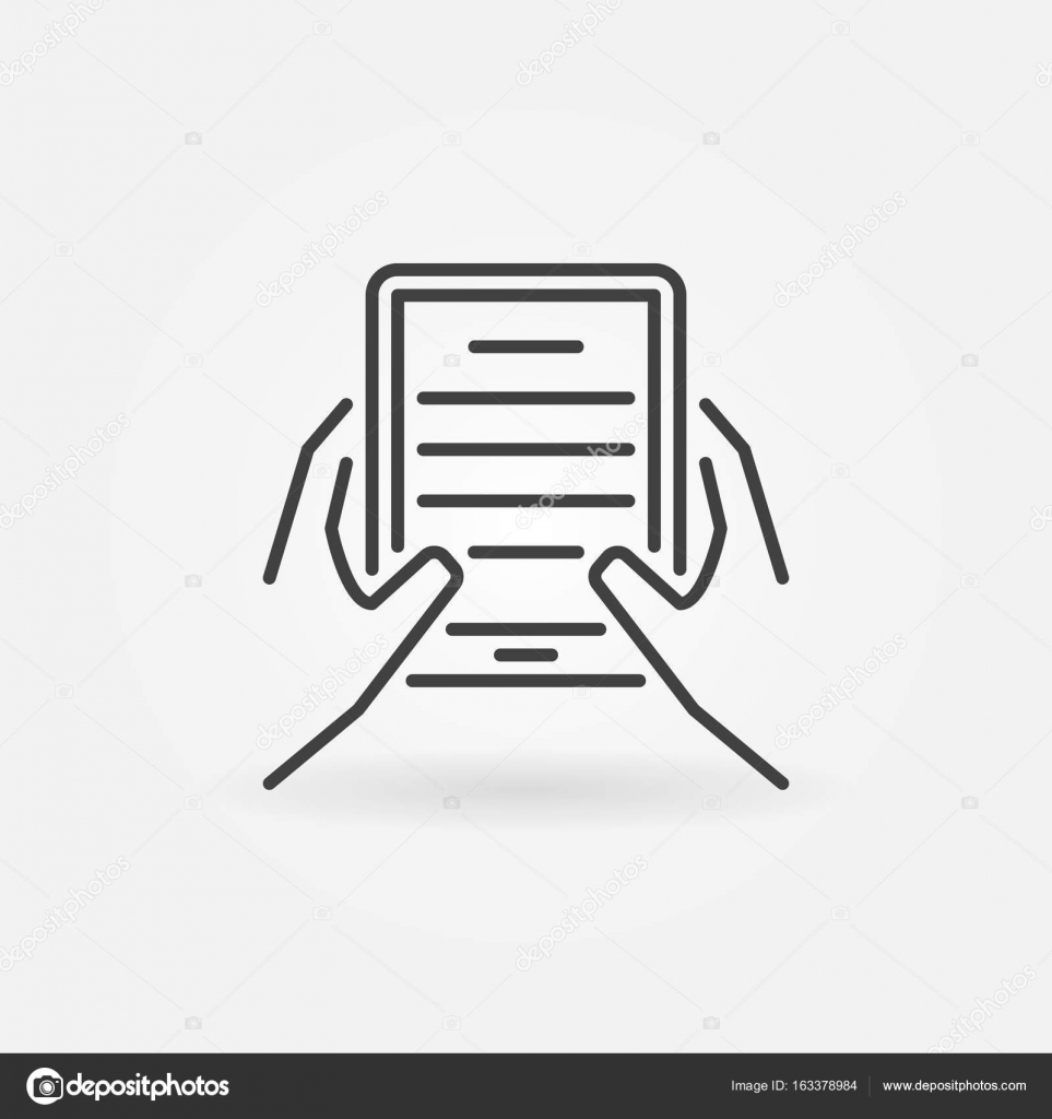 Hands Holding Ebook Reader Icon Stock Vector C Sn3g 163378984
