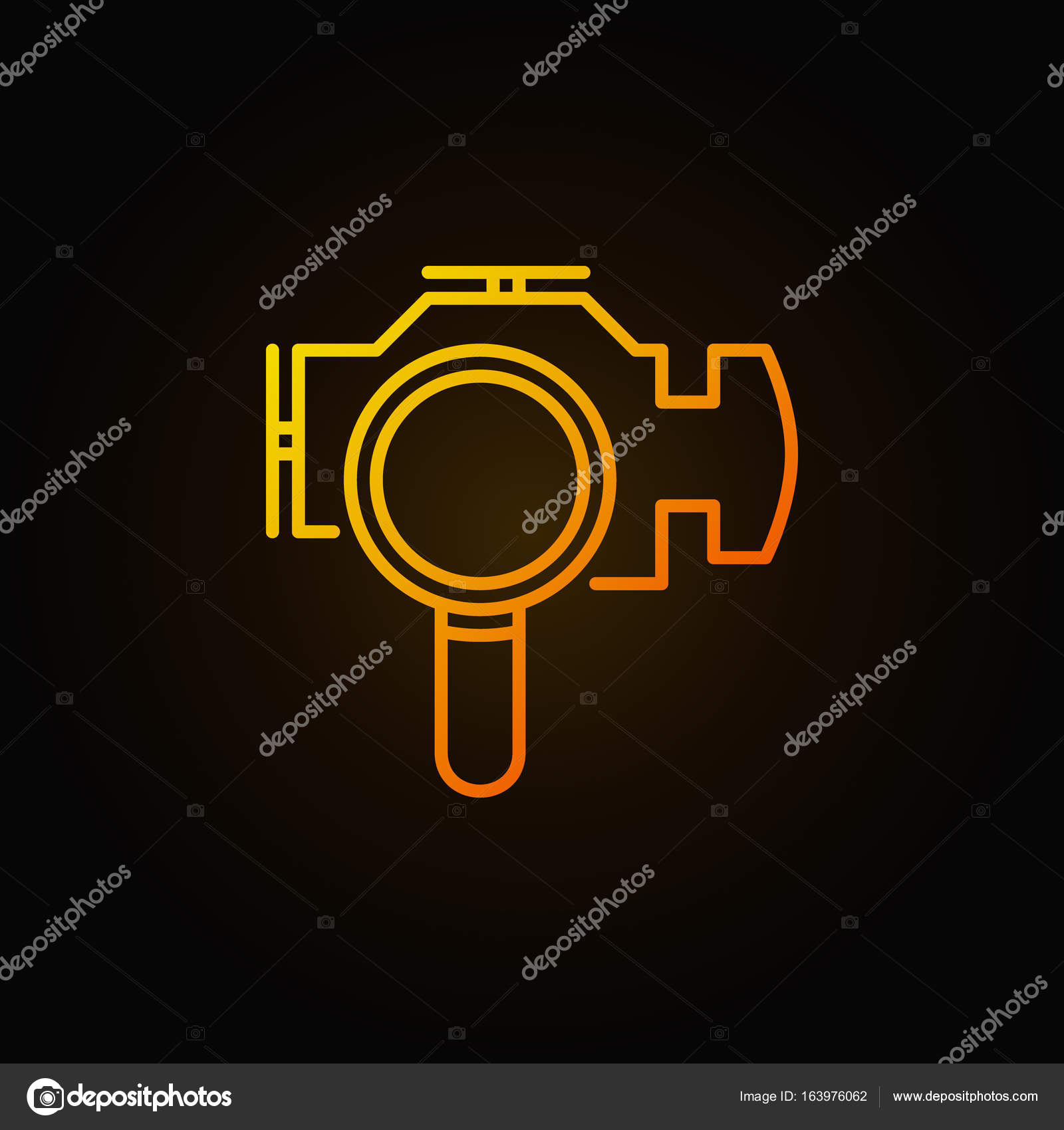 Magnifying glass with check engine icon stock vector sn3g magnifying glass with check engine yellow icon vector engine diagnostics concept sign in thin line style vector by sn3g biocorpaavc Gallery