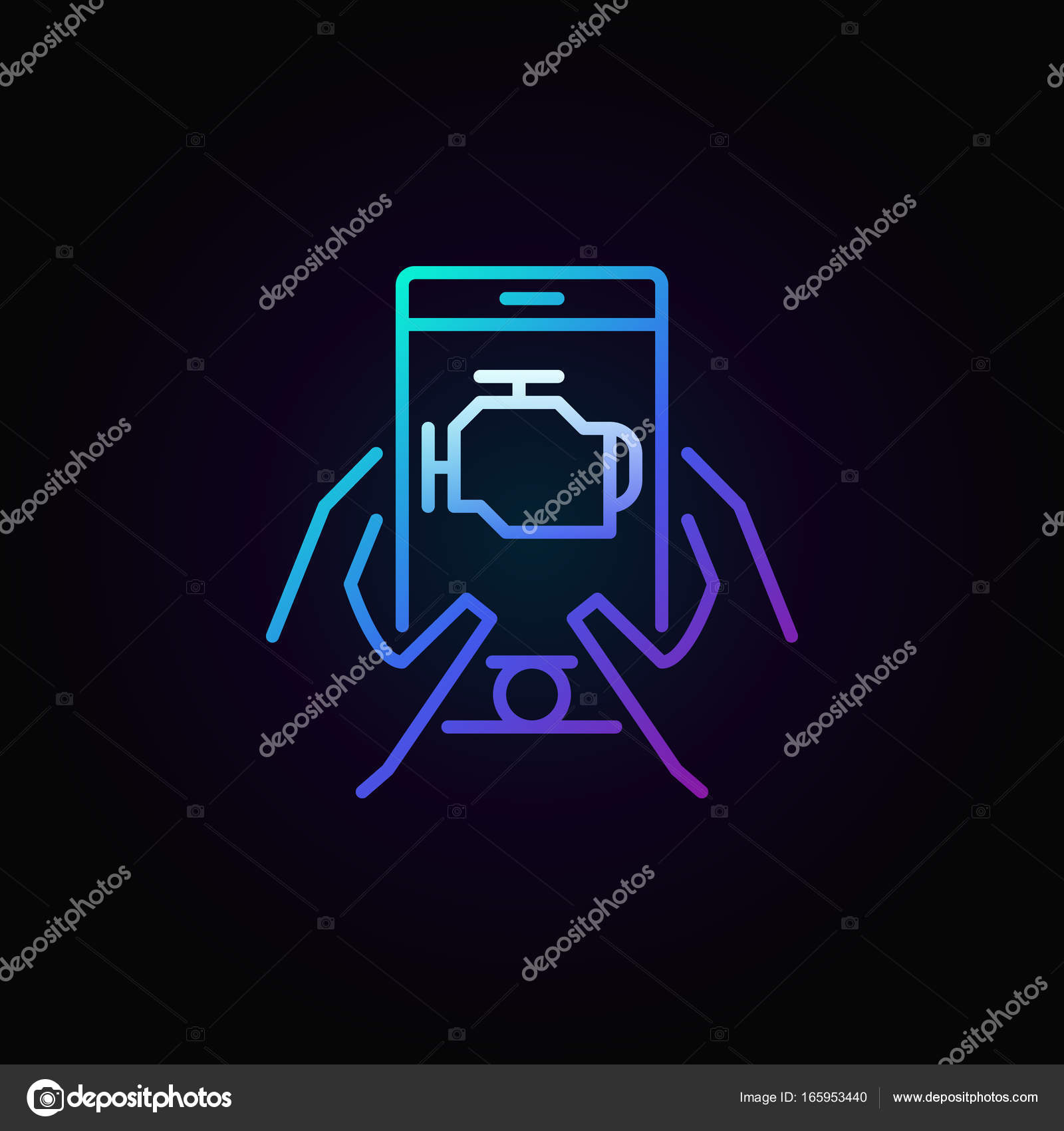 Colorful car diagnostics icon stock vector sn3g 165953440 colorful car engine diagnostics via smart phone vector linear icon or logo element on dark background vector by sn3g biocorpaavc Gallery
