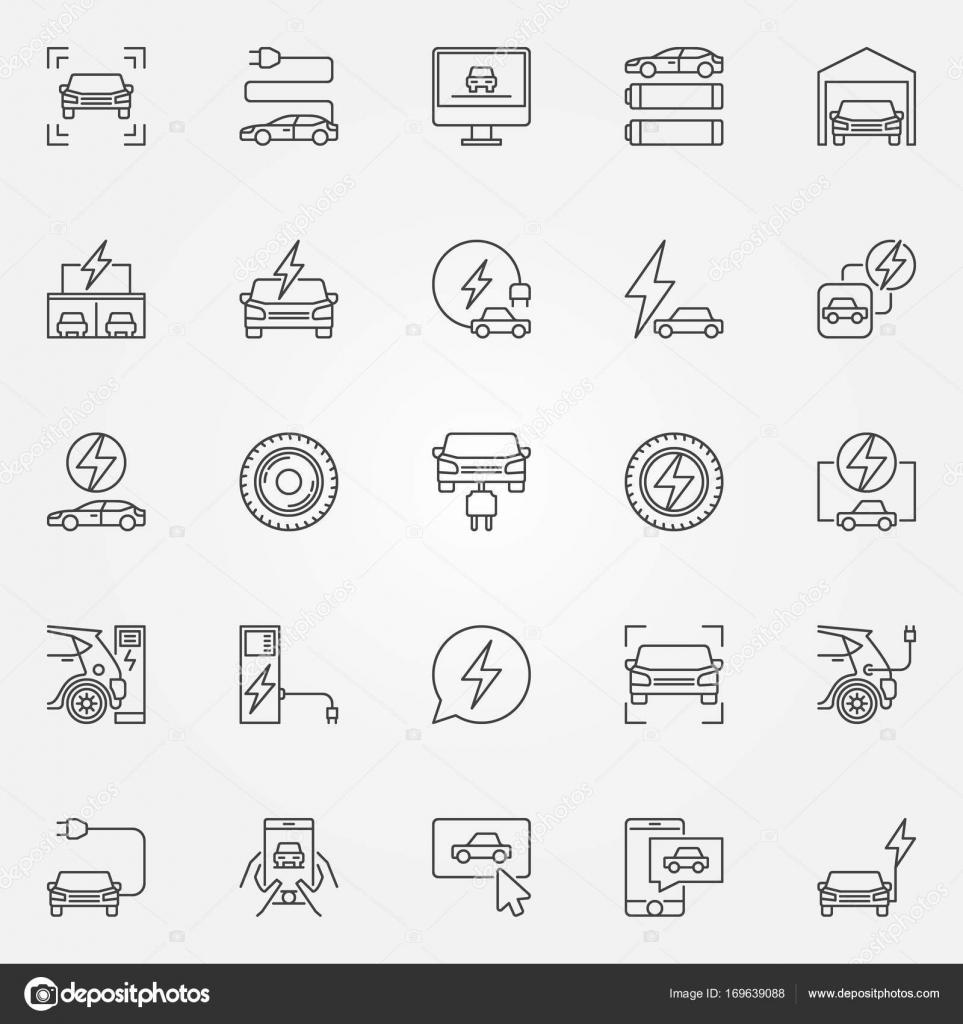 Elektro-Auto Symbole festgelegt. Vektorsymbolen Elektro-Fahrzeug ...