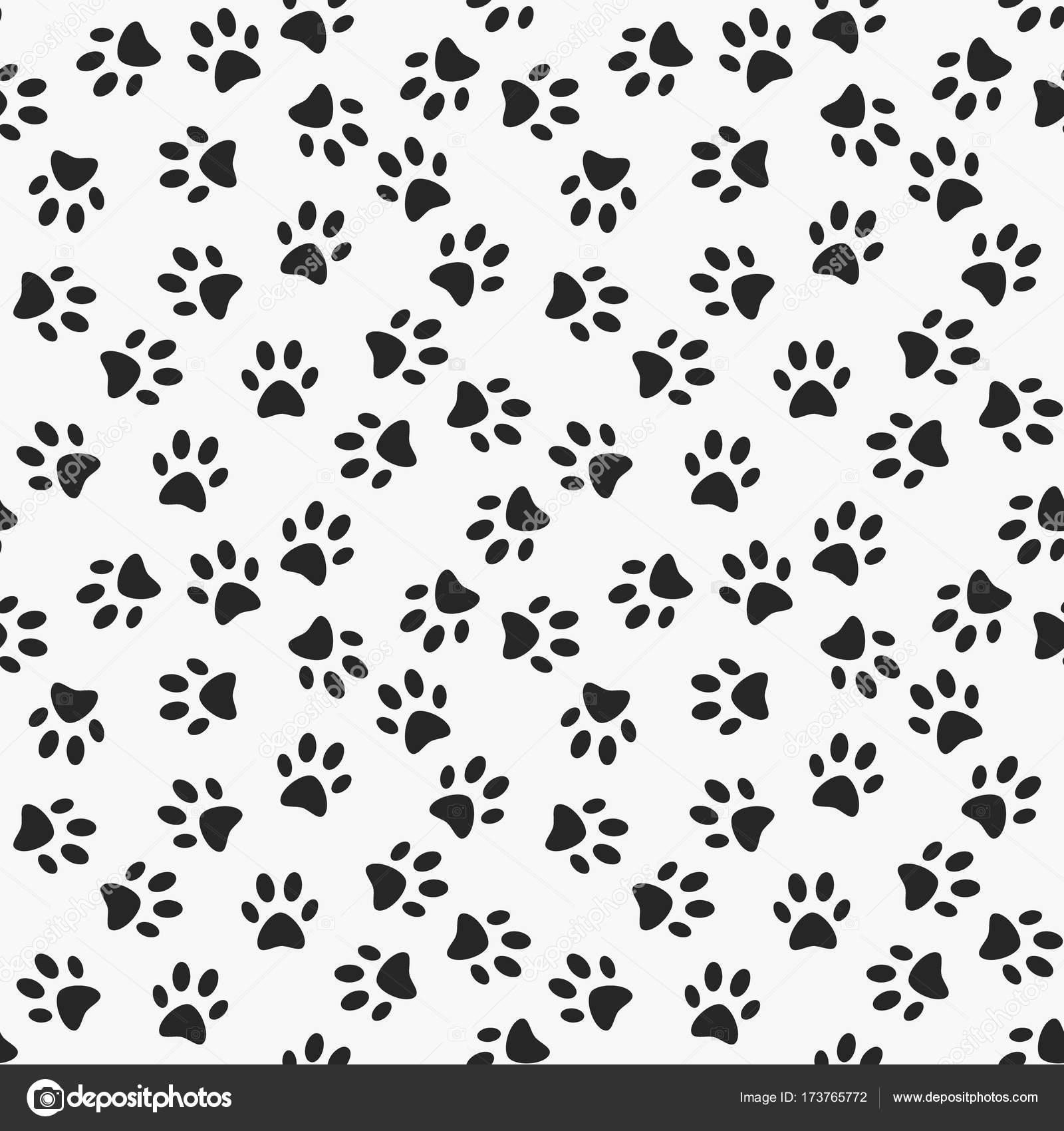 cachorro pata imprimir vetorial sem costura padrão vetores de
