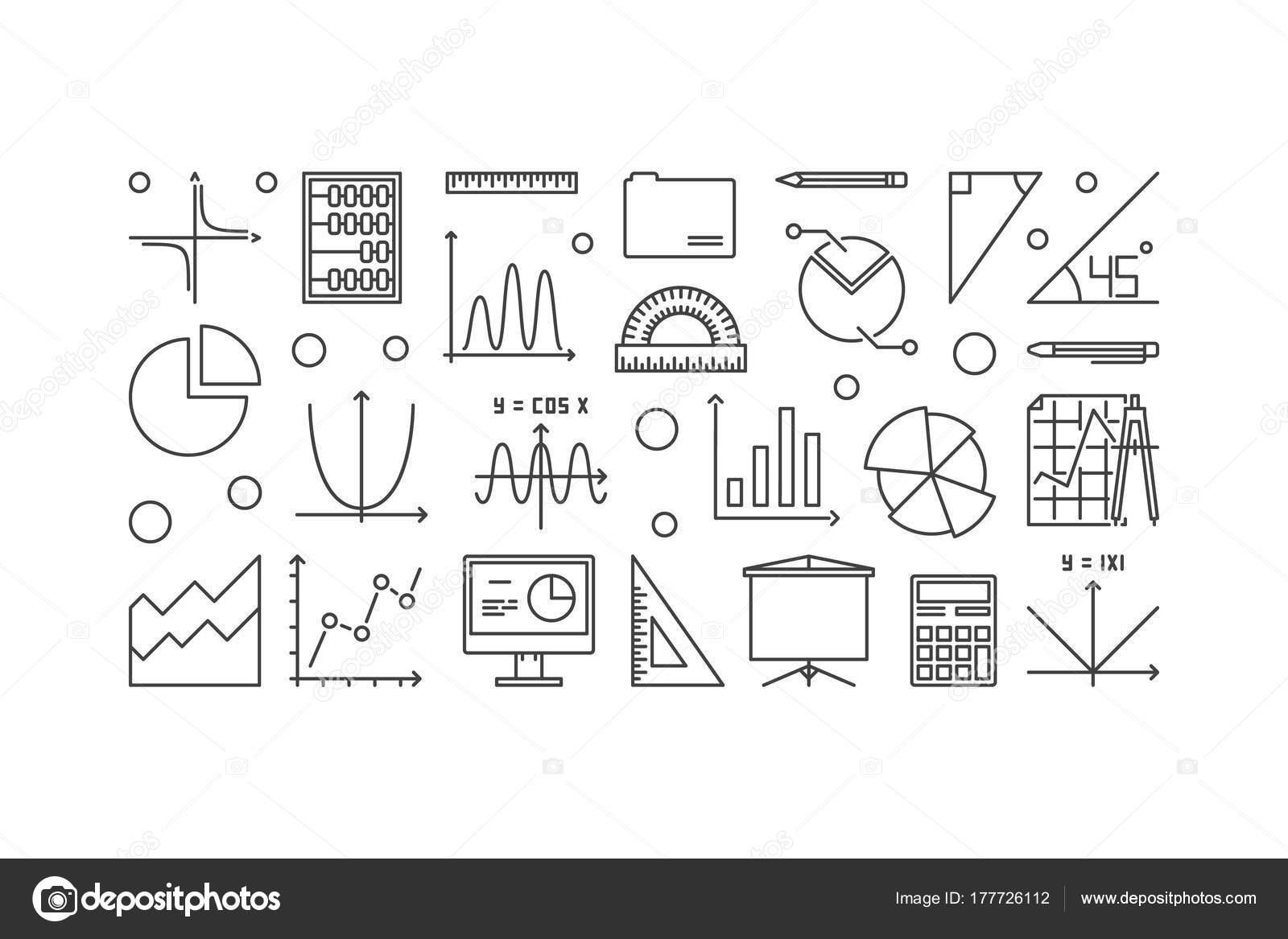 Algebra and mathematics vector minimal illustration — Stock