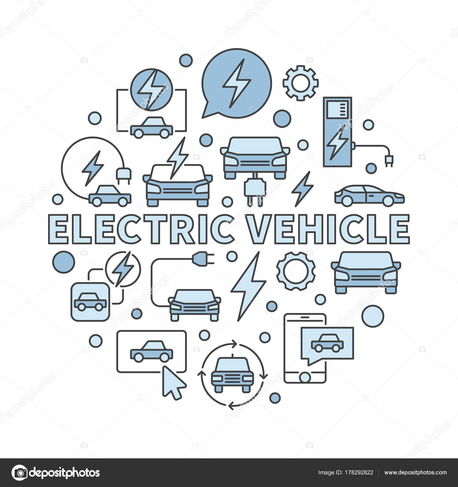 Elektro Fahrzeug kreisförmige Illustration - Vektor Ev-Symbol ...
