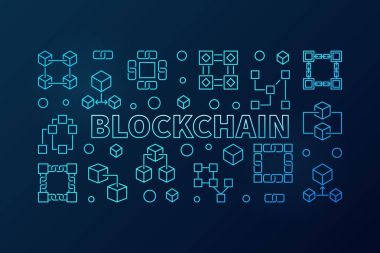 Blockchain blue vector illustration or banner in thin line style