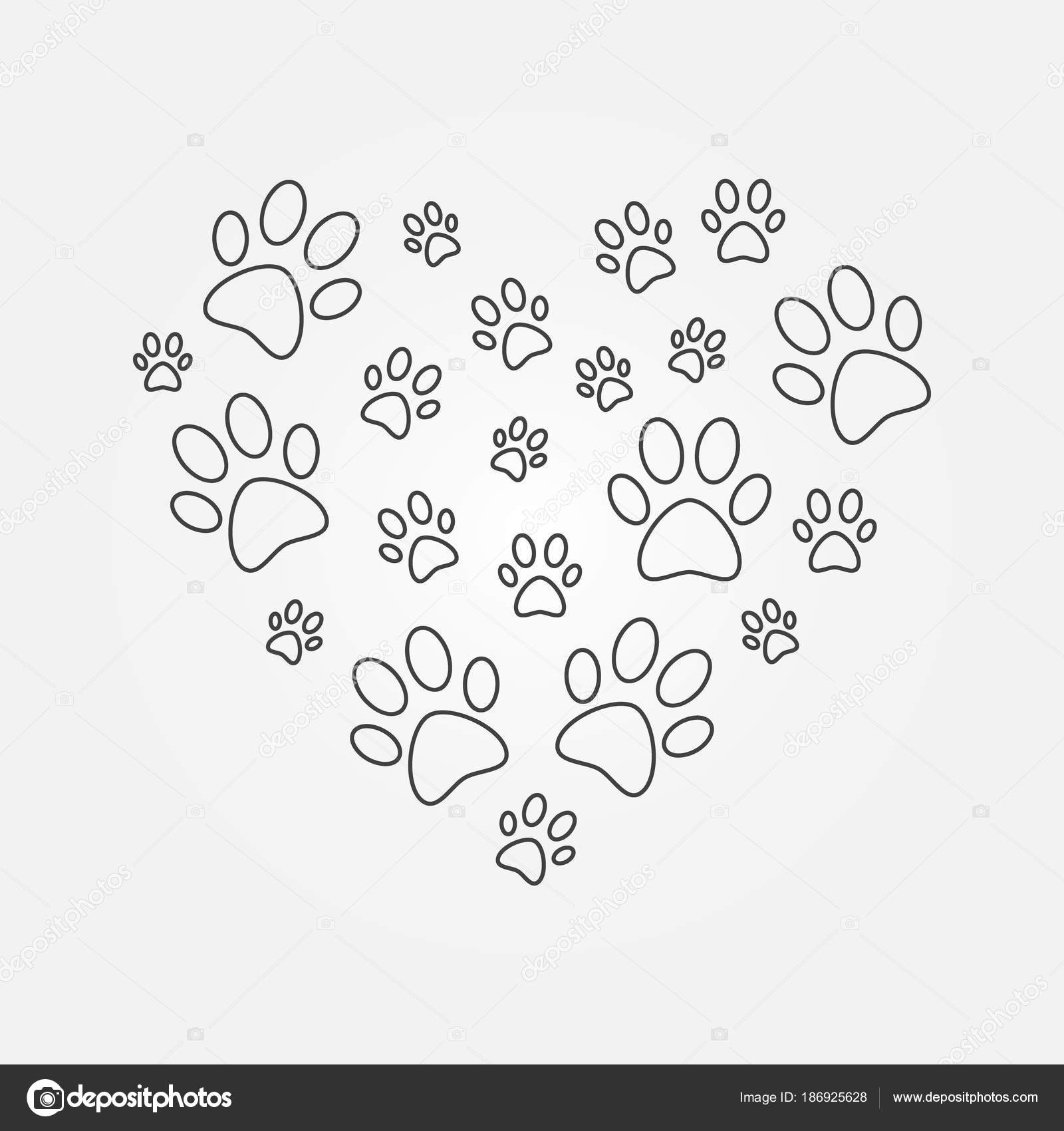 Heart With Dog Paw Prints Outline Vector Illustration Stock Vector