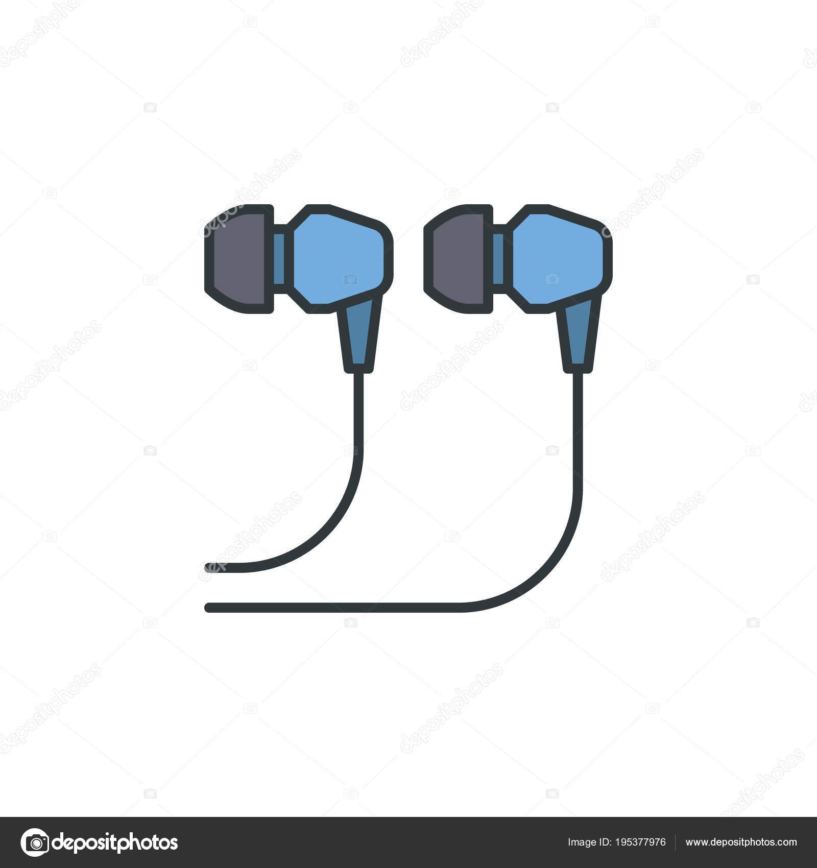 Blaue verdrahtet In-Ear-Kopfhörer-Symbol - Vektor-Zeichen ...