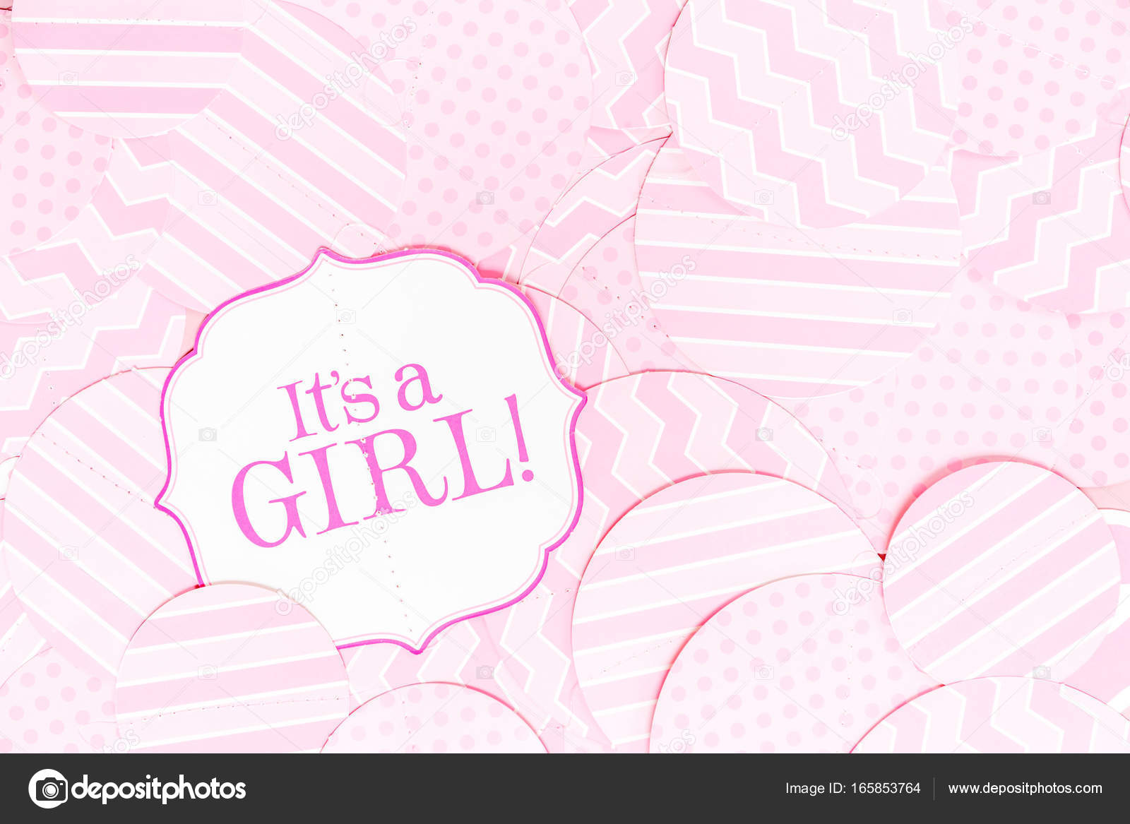 It S A Girl Sign At The Baby Shower Party Pink Patterns Backgr Stock Photo C Emolchanova 165853764