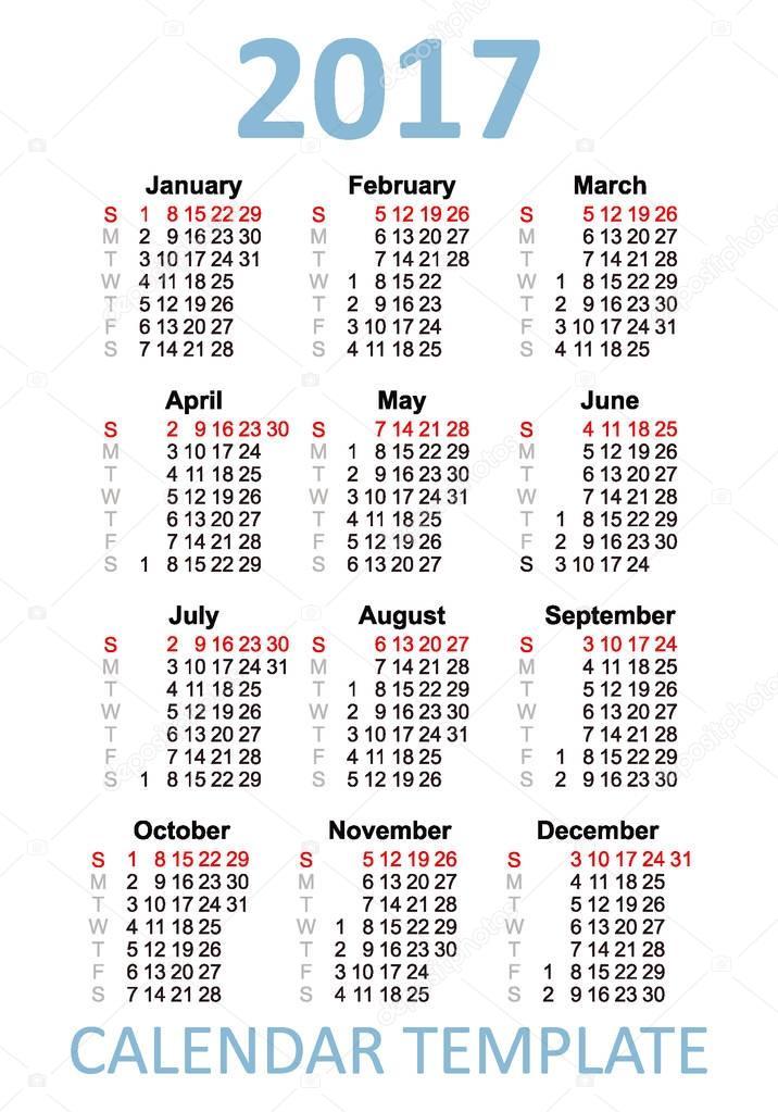 English Pocket Calendar For 2017 Stock Vector Lisovoy 130525936