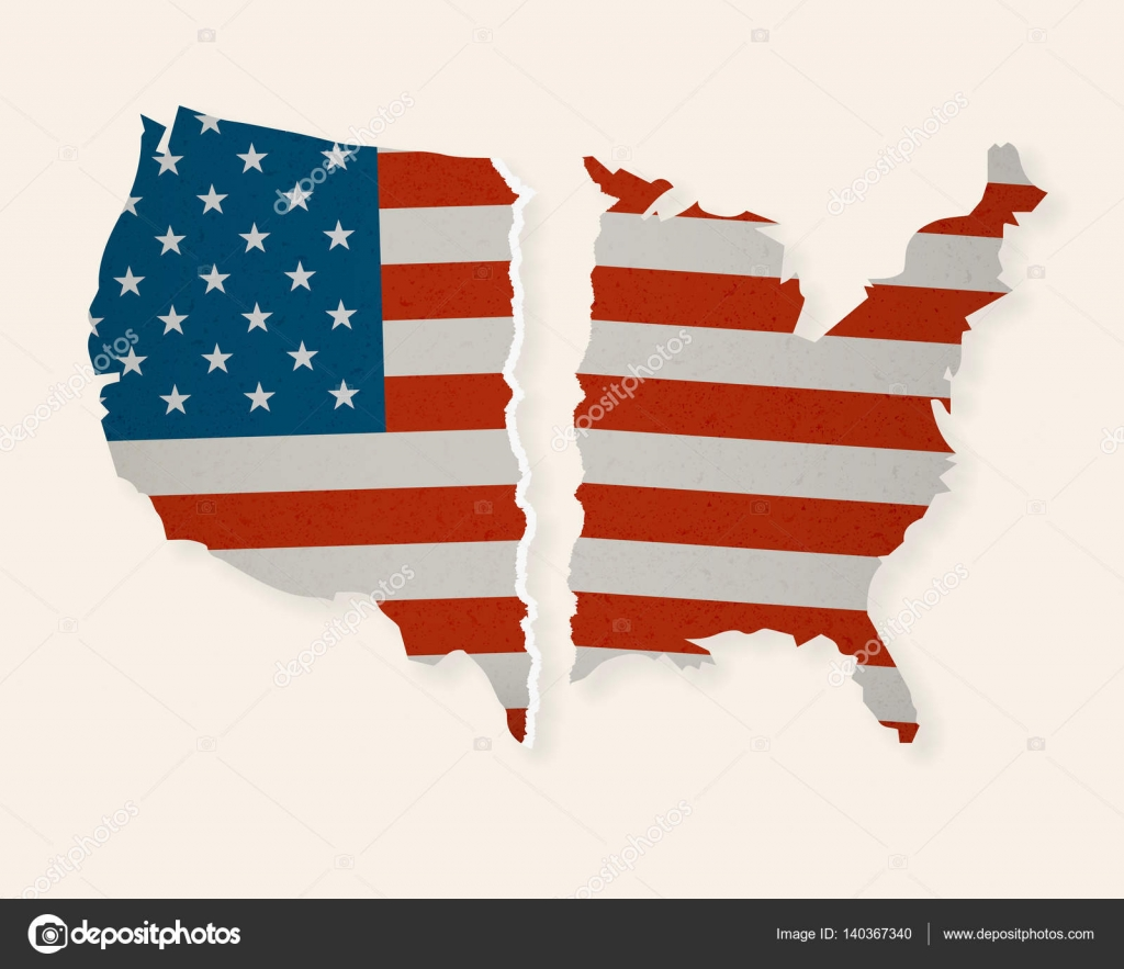American Flag Map Torn Apart Divided We Fall Stock Vector - Divided us map