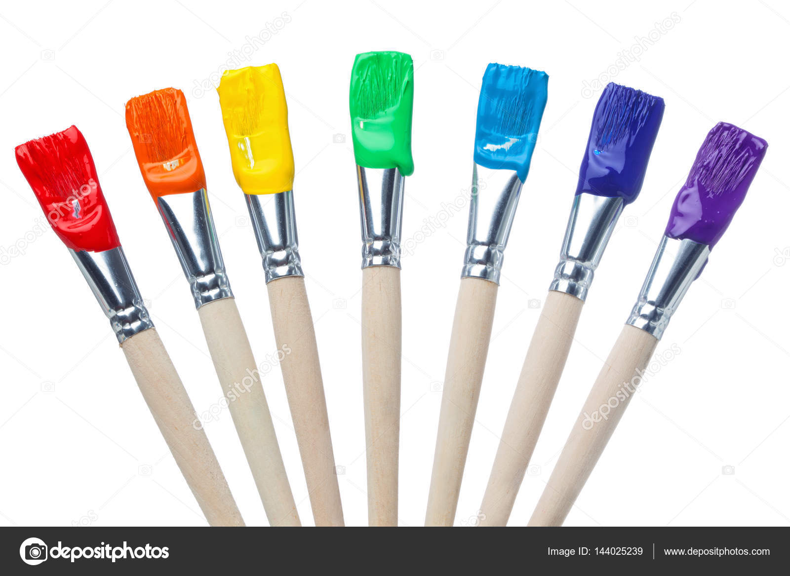 Colorful Paint Brushes With The Colors Of The Rainbow