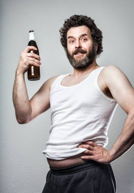 Bearded Proud Manly Man with Beer Bottle, and a big beer belly :)