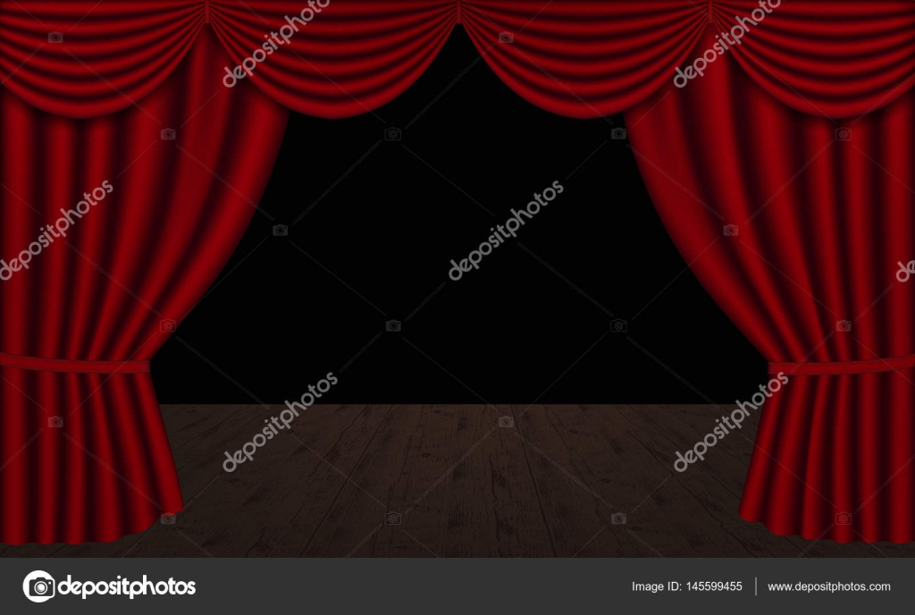Vector Red Theater Curtains Open With Wooden Stage And Black Background Copy Space